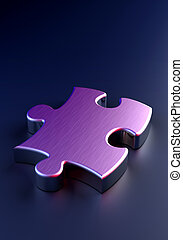 Metal Puzzle on blue background (computer generated image)