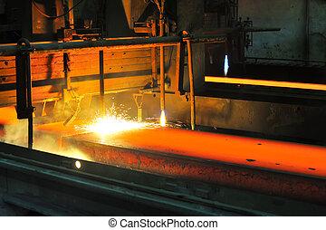 metal, quentes, corte, gás