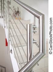 Closeup of metal railing