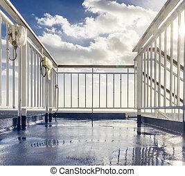 metal railing on a boat