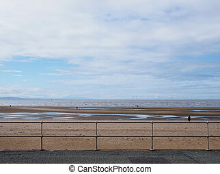 metal railings on the seafront in crosby near southport with a dog on the beach under a blue cloudy sky