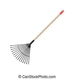 Metal rake with wooden handle. Garden accessories