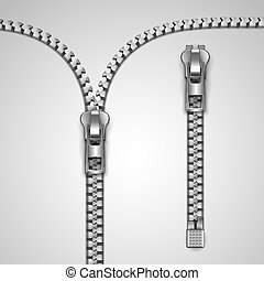 Metal realistic zipper template vector illustration
