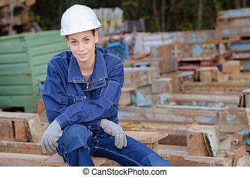 metal, reciclaje, trabajador