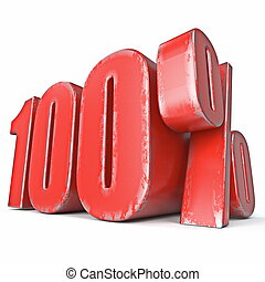 Metal red colored grunge 100 percent sign 3D