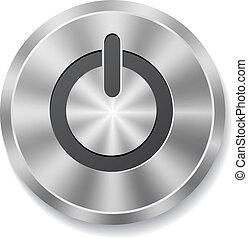 metal, redondo, botão, ligado, energia