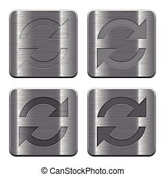 Metal Refresh buttons - Set of Refresh buttons vector in...
