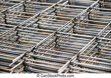 metal reinforcement background - heap of metal steel...