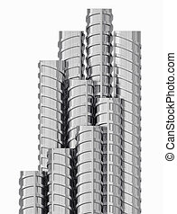 Metal reinforcements, close up, isolated