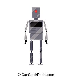 Metal robot character with long legs and arms - Robot...