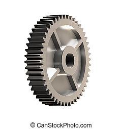 metal, roda engrenagem, 3d, illustration.