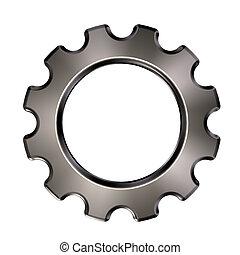 metal, roda engrenagem, branco, fundo, -, 3d, ilustração