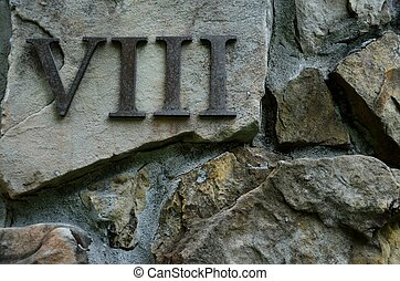 Roman numeral VIII or eight - Metal Roman numeral VIII or ...