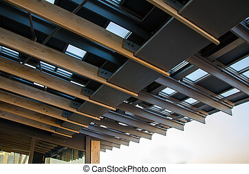 Detail of metal roof with wood rafter