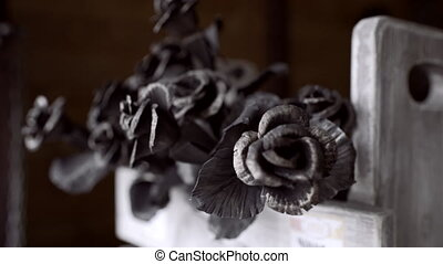 Metal roses on fair