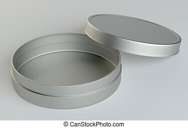 Metal round box on gray background