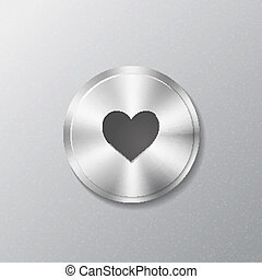 Metal round button with heart
