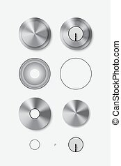 Metal round door handle and door lock. Isolated. Vector...