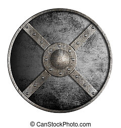 metal round shield isolated on white
