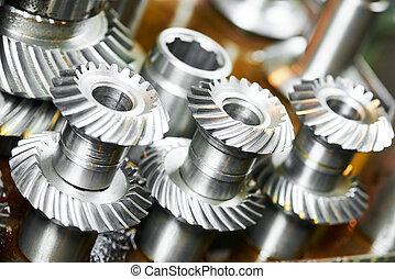metal, rueda del diente, engranajes