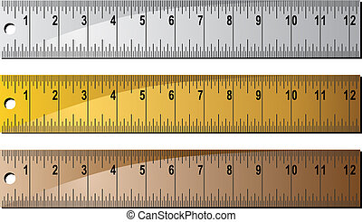 Metal Ruler Set - Group of inches rulers in different...