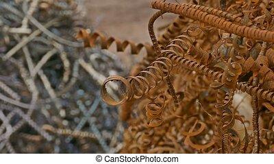 metal rusty shavings texture mountain background - metal...