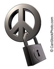 metal, símbolo paz, e, padlock, branco, fundo, -, 3d, ilustração