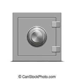 metal safe on white background