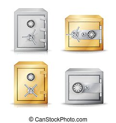 Metal Safe Realistic Vector. Set Realistic Steel safe. Front View. Combination lock