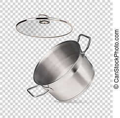metal saucepan on a transparent background
