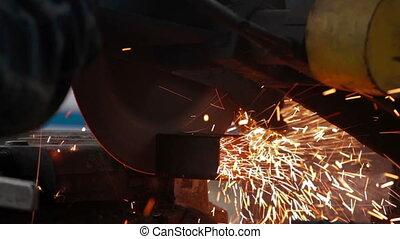 Metal saw cutting steel