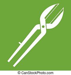 Metal scissors icon green