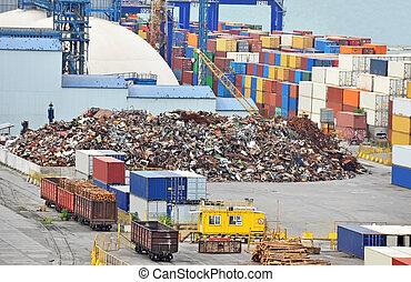 metal, scrap, beholder, havn, tømmer