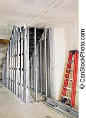 metal, sementales, encuadrado, para, escalera