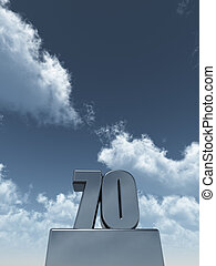 metal seventy - 70 - in front of cloudy blue sky - 3d...