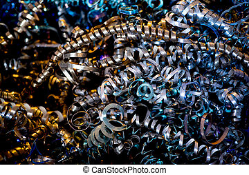 Metal shavings close up - Close up twisted spiral steel...