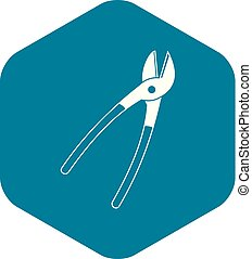Metal shears icon, simple style
