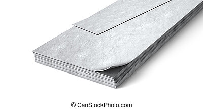 Metal sheets isolated on white background. 3d illustration