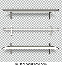 Metal shelves on the wall. For storage of household utensils, for books, in the bathroom, garment accessories. Mockup for business. Isolated on transparent background. Vector illustration.