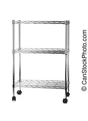 Metal shelves rack isolated on white background
