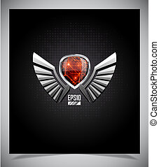 Metal Shield emblem with wings. Vector illustration.