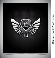 Metal Shield emblem with wings.
