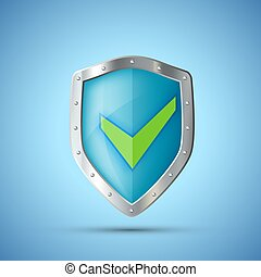 Metal Shield Icon with green Check Mark.