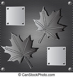 metal shield maple leaf background with rivets