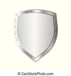 Metal shield vector illustration isolated on white background