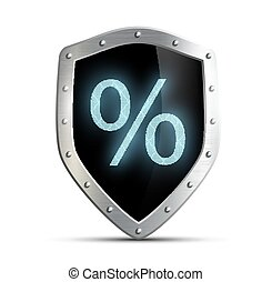 Metal shield with a percent sign isolated on white background