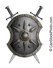 metal shield with crossed swords isolated 3d illustration