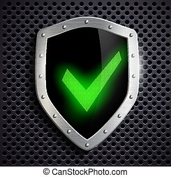metal shield with green tick