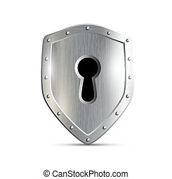 metal shield with keyhole isolated on white background