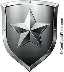 Metal shield with star